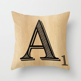 Scrabble Tile Letter A Throw Pillow
