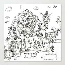 """Arkhamfall"" lineart (Farts 'N' Crafts episode 2) Canvas Print"