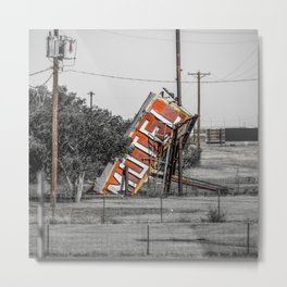 Forgotten Motel Sign Abandoned Adrian Texas Route 66 Midpoint Metal Print