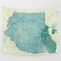 ohio Wall Tapestries featuring Ohio State Map Blue Vintage by City Art Posters