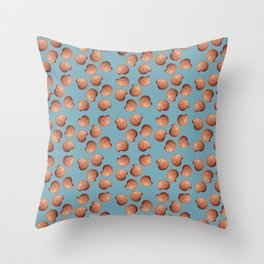 Light Blue Small Clams Illustration pattern Throw Pillow