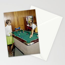 1960's Game room with Pinball and a Pool Table in the Admiral Motel in Wildwood, NJ Stationery Cards