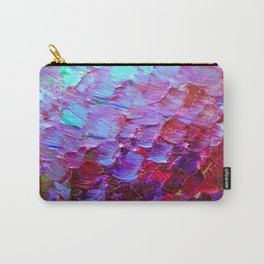 MERMAID SCALES - Colorful Ombre Abstract Acrylic Impasto Painting Violet Purple Plum Ocean Waves Art Carry-All Pouch