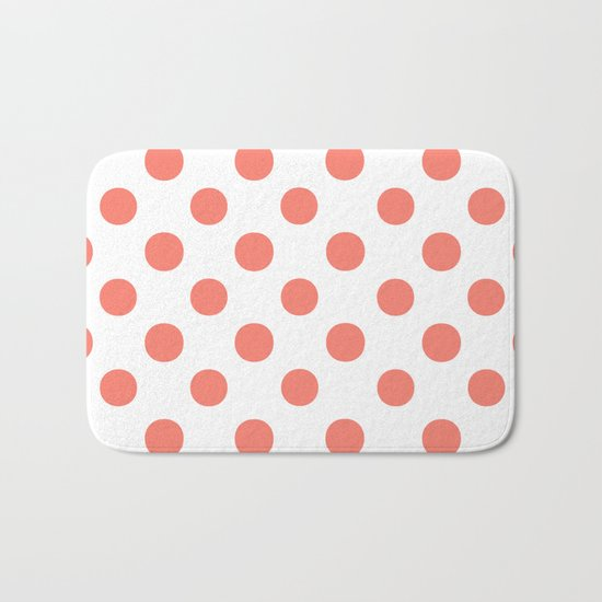 Polka Dots (Salmon/White) Bath Mat