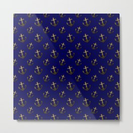 Gold sparkles sparkly anchor pattern navy blue Metal Print