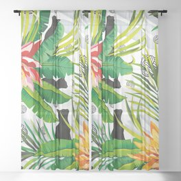 Pattern Cats between plants Sheer Curtain
