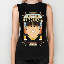 Ice Hockey Black and Yellow - Boardie Zamboni - Jacqui version Biker Tank
