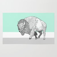 bison Area & Throw Rugs featuring Bison by Annie Bailey Art