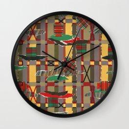 Pierced, Torn & Stitched Tartan Plaid Wall Clock