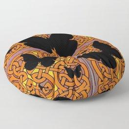Mystic Black Butterflies Golden Celtic Patterns Floor Pillow