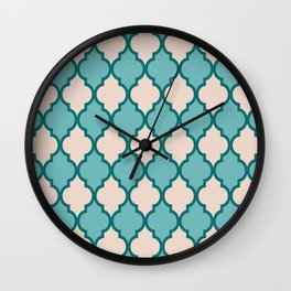 Classic Quatrefoil Lattice Pattern 828 Jade Green Turquoise and Beige Wall Clock