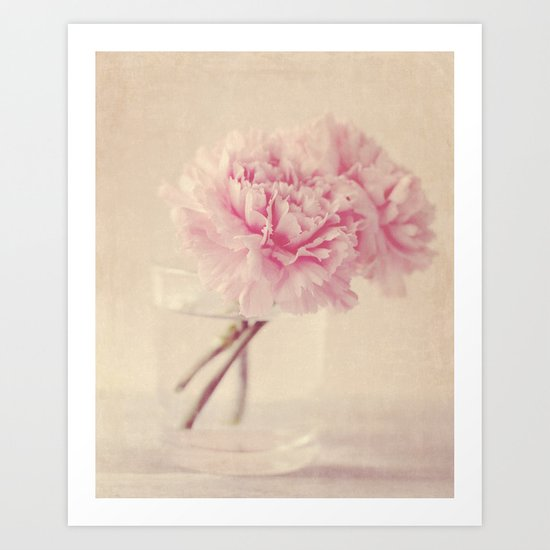 Textured Carnations in a Glass Art Print