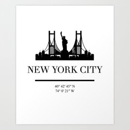 NEW YORK CITY NEW YORK BLACK SILHOUETTE SKYLINE ART Art Print