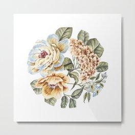 Circular Pastel Florals Metal Print