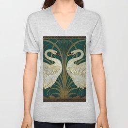 Walter Crane's Swan, Rush, Iris Unisex V-Neck