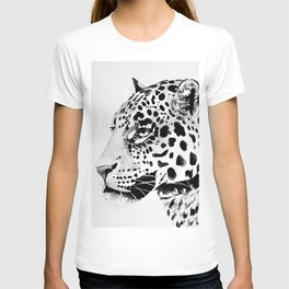 Watercolor Leopard (Black and White) T-shirt