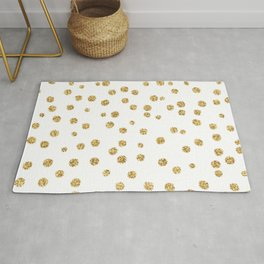 Gold glitter confetti on white - Metal gold dots Rug