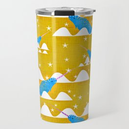 Sea unicorn - Narwhal yellow Travel Mug