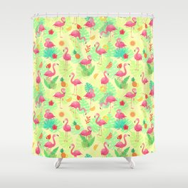 Tropical Fruit & Flamingo Pattern Shower Curtain