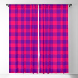 Modern Bright Pink and Purple Gingham Plaid Blackout Curtain
