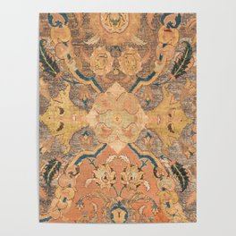Persian Motif III // 17th Century Ornate Rose Gold Silver Royal Blue Yellow Flowery Accent Rug Patte Poster