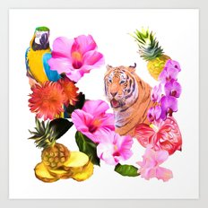 Tropical Tiger with Hibiscus, Orchids, Parrot And Pineapple Art Print