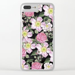 Vintage Rose Pattern Pink On Chalkboard Clear iPhone Case