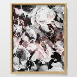 flowers - roses and black marble Serving Tray