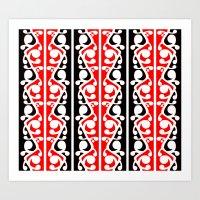 maori Art Prints featuring  Maori Kowhaiwhai Traditional Pattern  by mailboxdisco