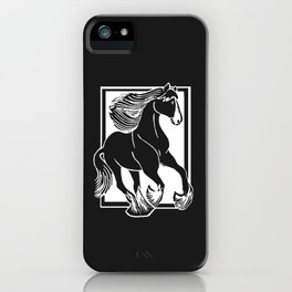 Black and White Shire Horse Art iPhone Case