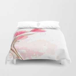 Abstract Pink Watercolor Tulips Duvet Cover