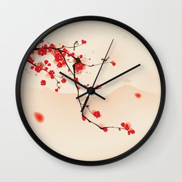 Oriental plum blossom in spring 003 Wall Clock