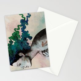 Moral Eclipse (colorful hair woman with moths tattoos) Stationery Cards