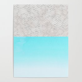 Painted Marble - Gray Aqua Silver Poster