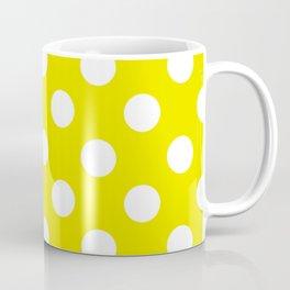 Titanium yellow - yellow - White Polka Dots - Pois Pattern Coffee Mug