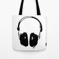 headphones Tote Bags featuring HEADPHONES by by INK! - Sandie Dolleris Thomsen