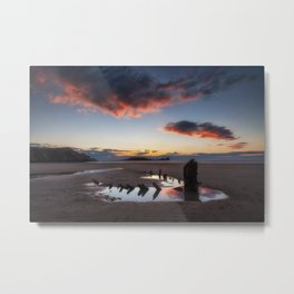 The wreck of the Helvetia and Worms Head Metal Print