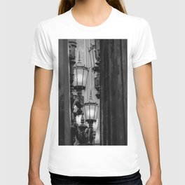 Urban Light at LACMA Los Angeles California USA in black and white T-shirt
