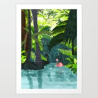 Flamingo Jungle Art Print