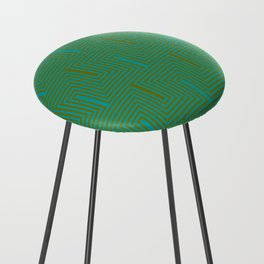 Doors & corners op art pattern in olive green and aqua blue Counter Stool