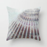 seashell Throw Pillows featuring SEASHELL by Christina Lynn Williams