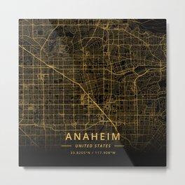 Anaheim, United States - Gold Metal Print