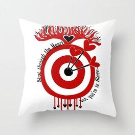 Shot through the Heart Throw Pillow