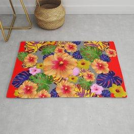 TROPICAL FLOWERS & LEAVES RED ART Rug