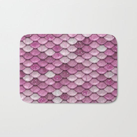 Light Pink Glitter mermaid sparkling scales - Mermaidscales Bath Mat