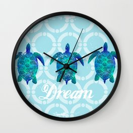 Turtle dream dreamer summer, illustration original painting print Wall Clock