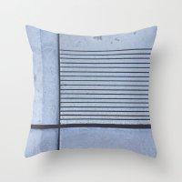 Concrete Stripe Blue Throw Pillow