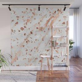 Pink Quartz Terrazzo + Rose Gold Marble Wall Mural
