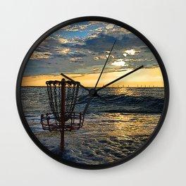 Disc Golf Basket Chesapeake Bay Virginia Beach Ocean Sunset Wall Clock