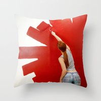 redhead Throw Pillows featuring Redhead by Twilight Productions